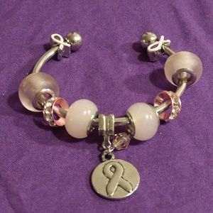 Other - Pink ribbon charm bangle bracelet